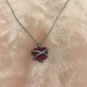 Silver ruby white sapphire heart necklace